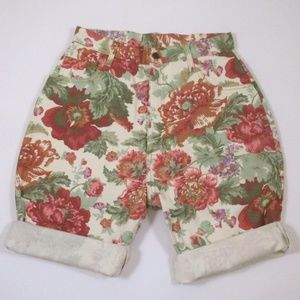 Vintage 90s High Rise Mom Jean Shorts Floral EUC